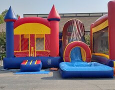 Wet Combo Bounce House in Red Yellow and Blue 21x20 | Area needed 23'Wx30'Lx15'H