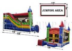 Multi Color Bounce House with Front Facing Slide and Basketball Hoop 14x18