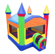 Rainbow Bounce House with Tunnel Entrance