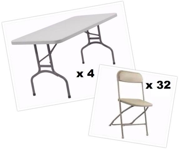 4 Tables and 32 Beige Chairs