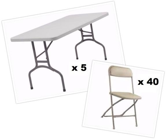 5 Tables and 40 Beige Chairs