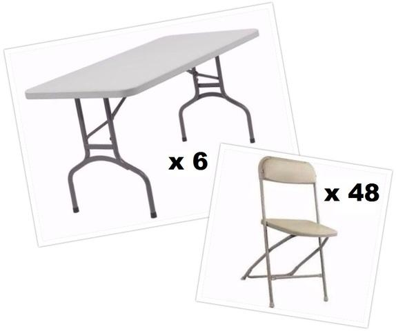 6 Tables and 48 Beige Chairs
