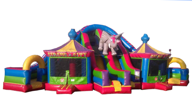 Circus Themed Triple Lane Slide w/ Bounce Houses 526