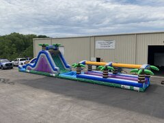 65 Foot Double Lane Radical Run Water Slide Combo