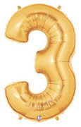"Gold Number ""3"" Balloon"