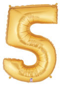 "Gold Number ""5"" Balloon"