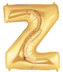 "Gold Letter ""Z"" Balloon"