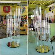 Glass Candelabra with Mirror Base
