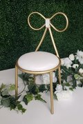 Butterfly Chair White Leather and Gold