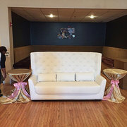 High Back White Leather Love Seat