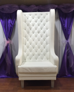 High Back White Leather Chair