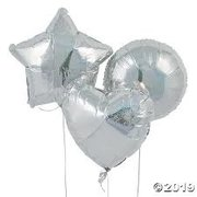 6 solid color Mylar Balloon Bouquet with weight