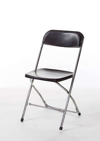 Folding chair - black with chrome frame