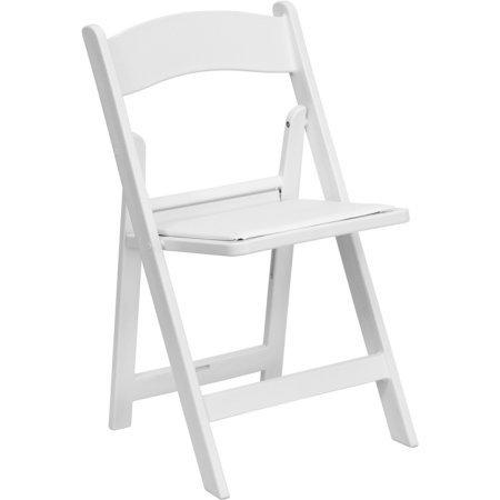 Resin padded folding chair - white