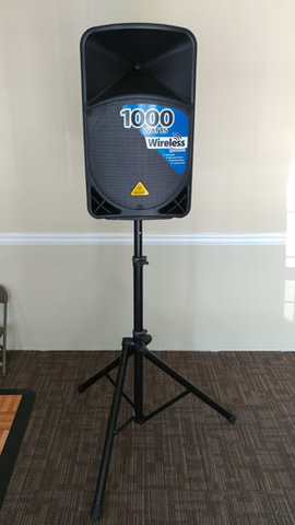 Powered speaker with stand