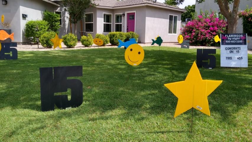 15s fish smileys and stars birthday yard signs