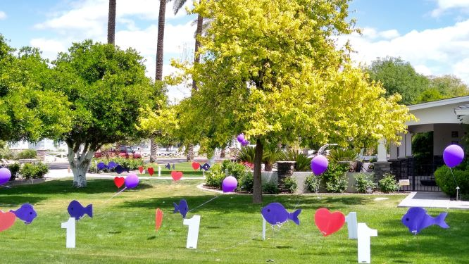 2020 graduation yard display with hearts and stars