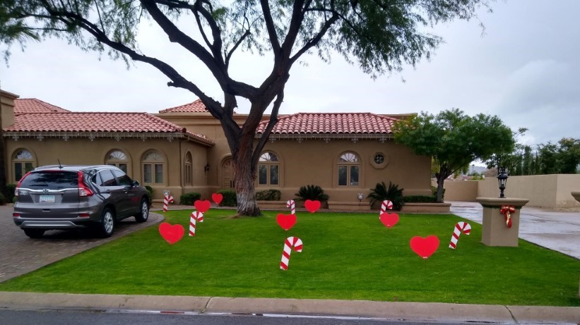 candy cane hearts yard decorations