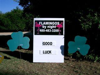 good luck yard sign with shamrocks