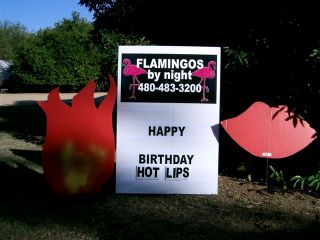 happy birthday hot lips yard sign with kisses and flames
