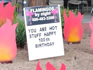 you are hot stuff 100th birthday yard sign with flames