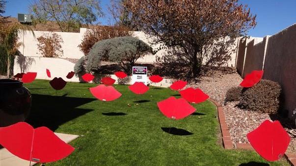 big red kisses yard decorations