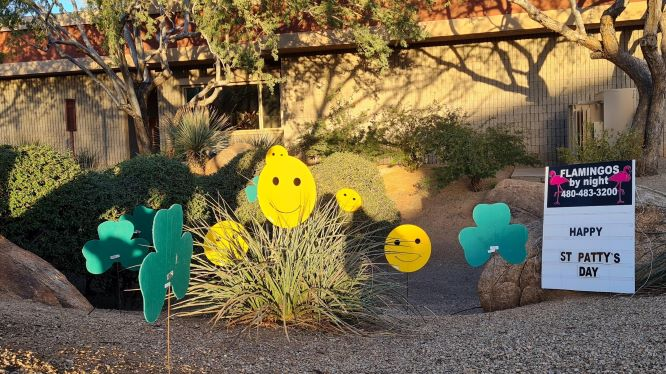 Smiling Irish shamrocks and smiley faces for St Patrick's Day