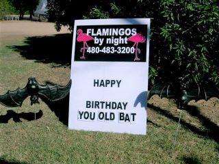 happy birthday you old bat yard sign with black bats