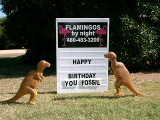 happy birthday you old fossil yard sign with dinosaurs