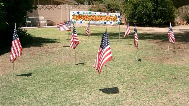 yard full of American flags for Independence Day