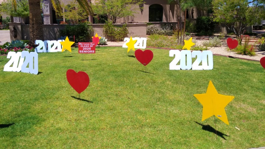 hearts, stars and 2020s yard card for graduation