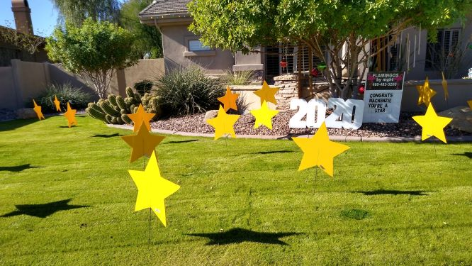 All star graduation yard card