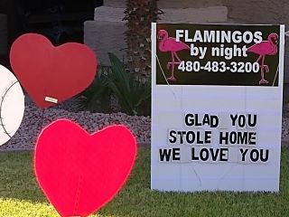 glad you stole home custom yard sign with hearts and baseballs