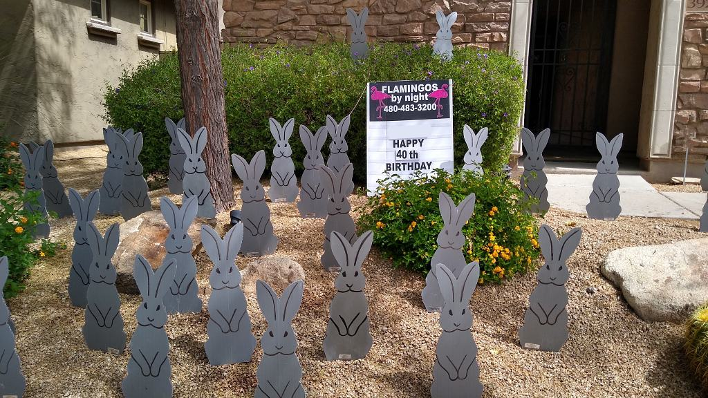 bunnnies or grey hares lawn decorations