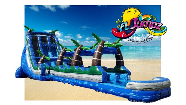 24ft Tropical Hurricane 2 Lane Water Slide