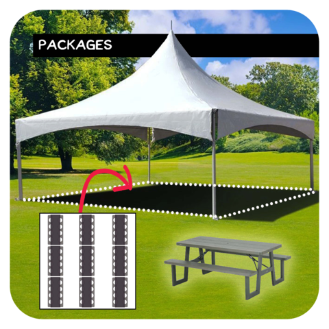 20'x20' Tent/Canopy + 9 Picnic Tables