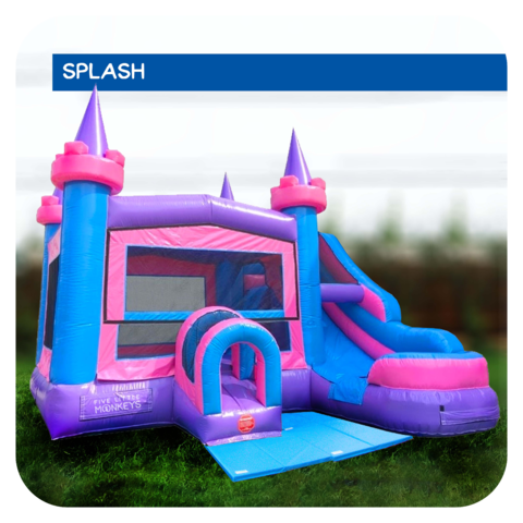Enchanted Castle Water Slide & Bounce House Combo Rental