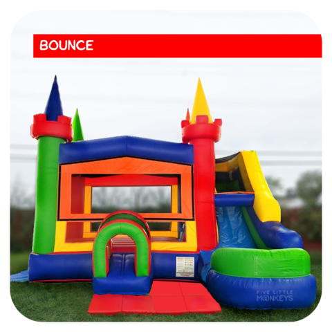 Big Rainbow Castle Bounce House & Slide Combo