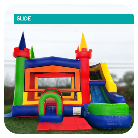 Big Rainbow Castle Slide & Bounce House Combo