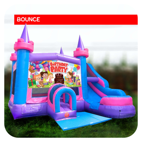 Birthday Girl Bounce House & Slide Combo Rental