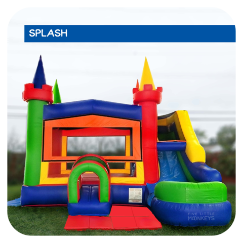 Magic Rainbow Water Slide & Bounce House Combo Rental