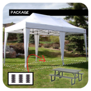 10'x20' Tent/Canopy + 3 Picnic Tables