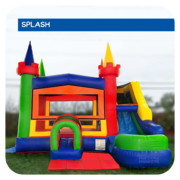 Magic Rainbow Castle Water Slide & Bounce House Combo
