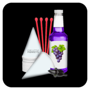 Snow Cone Cups/Straws/Syrup: 25 Servings - Grape