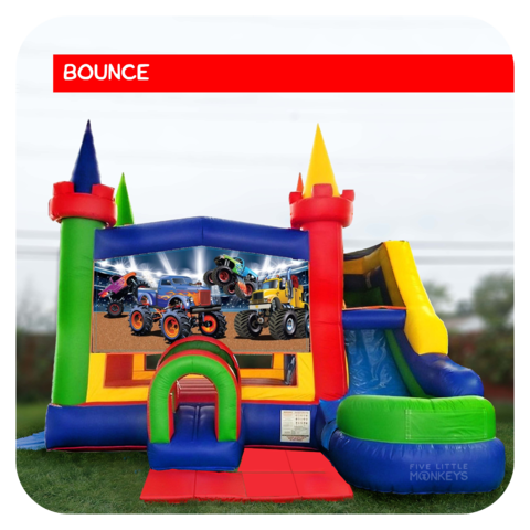 Monster Truck Bounce House & Slide Combo Rental