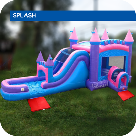 Pink Palace Water Slide & Bounce House Combo Rental