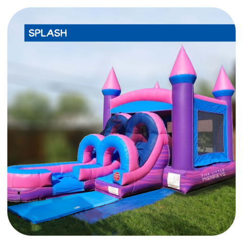 Pretty-in-Pink Water Slide & Bounce House Combo Rental