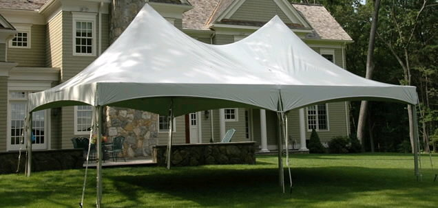 40' x 20' high peak tent rental in backyard