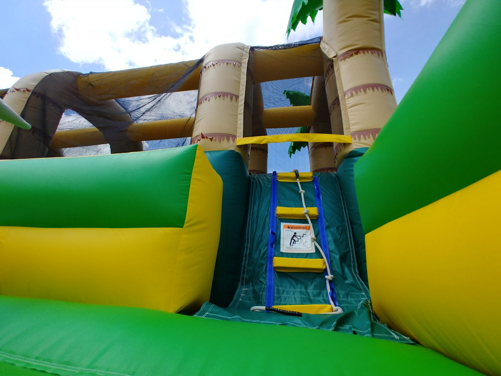 Climbing challenge to ball hop obstacles inside obstacle course rental
