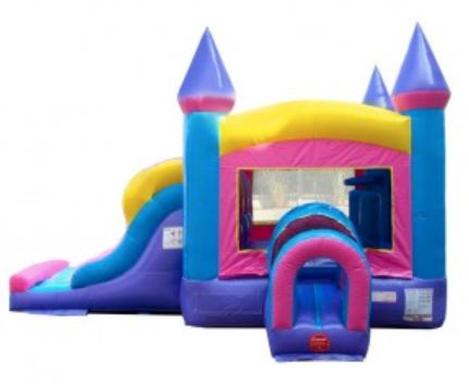 Pink and blue bounce house with slide rental.